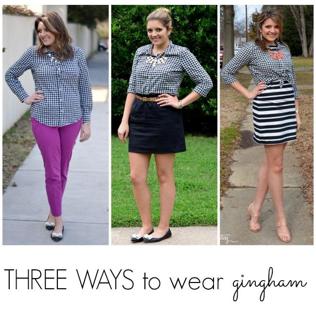 three ways to wear gingham plaid