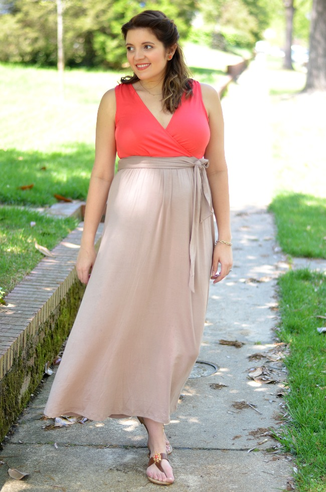coral and taupe maxi dress
