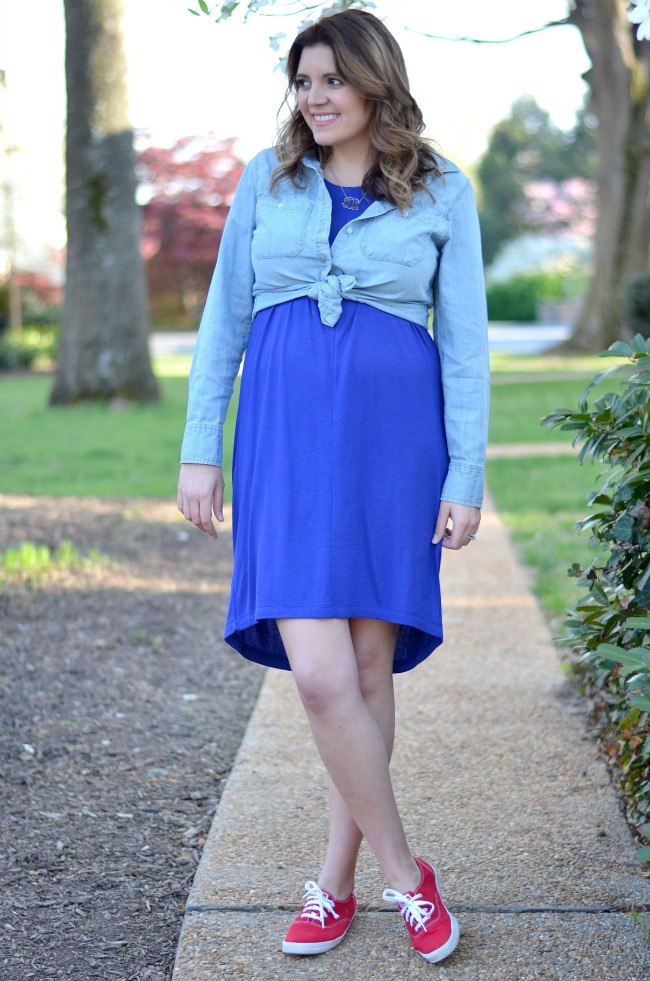 button down over maternity shirt dress