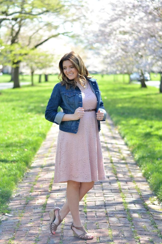maternity blush lace dress