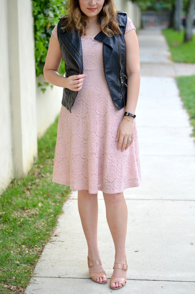 faux leather vest with dress