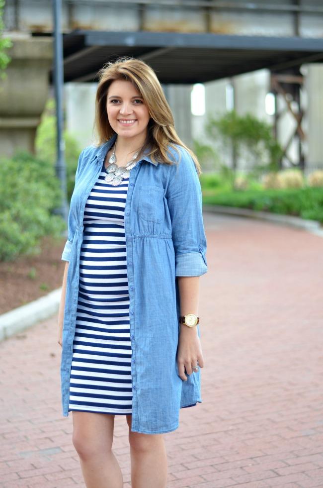 layered stripe dress with chambray