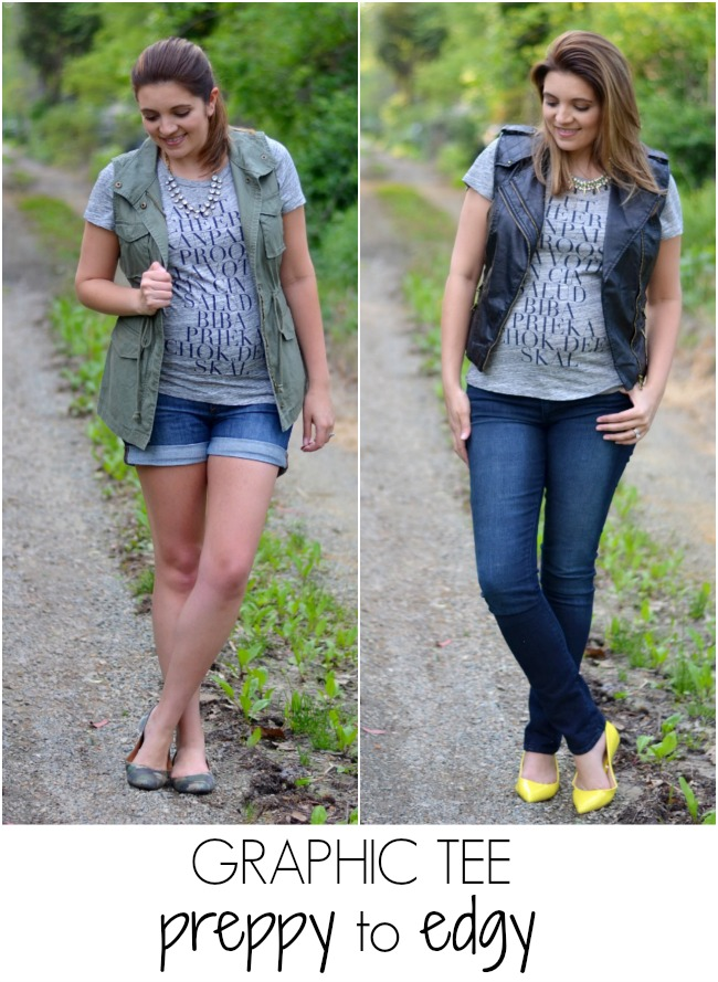 two ways to wear graphic tee