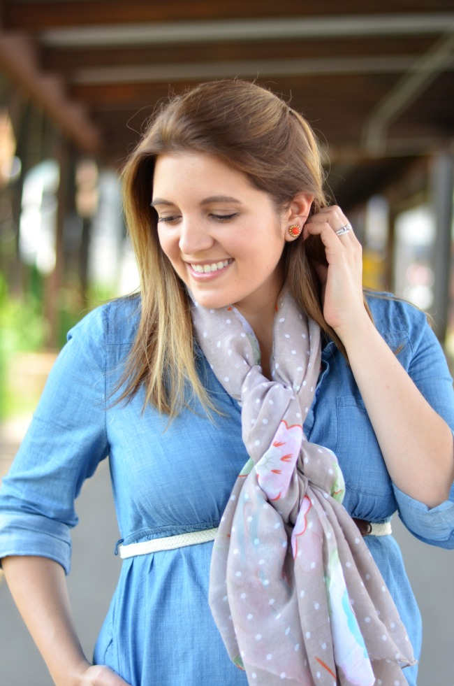scarf and chambray dress