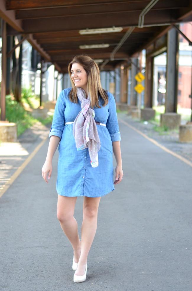chambray maternity shirt dress