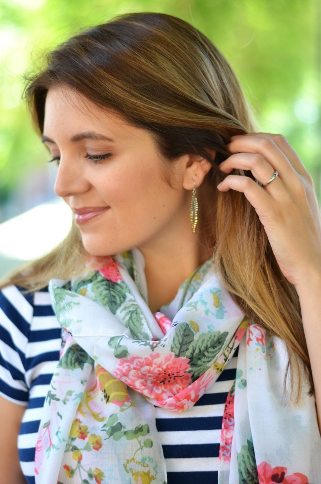 floral scarf with dress