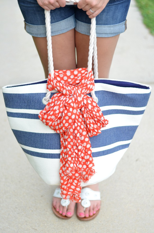navy striped joules bag