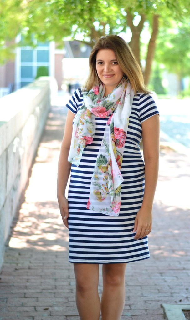 striped maternity dress with floral print scarf