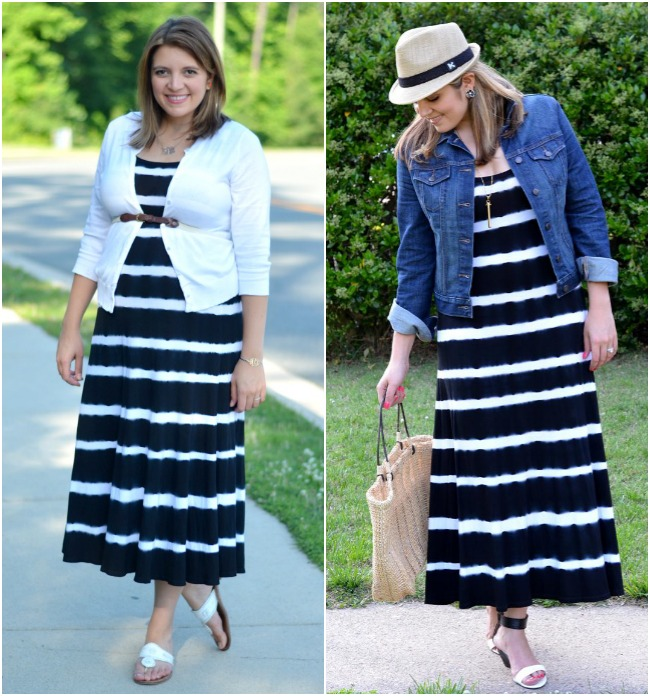 striped maxi pregnancy and non maternity