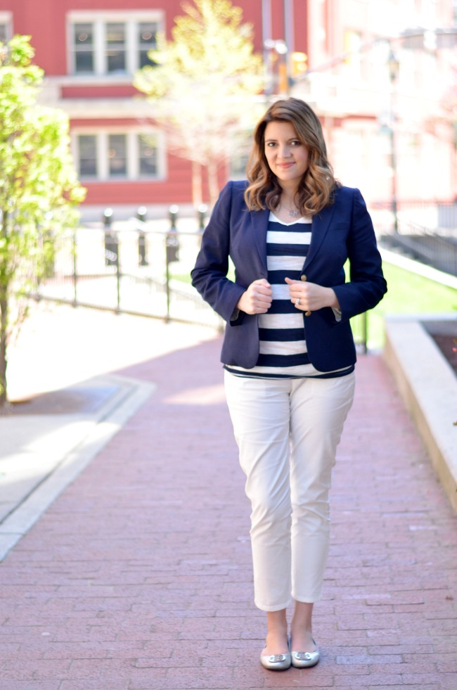 blue and white striped tee with navy blazer