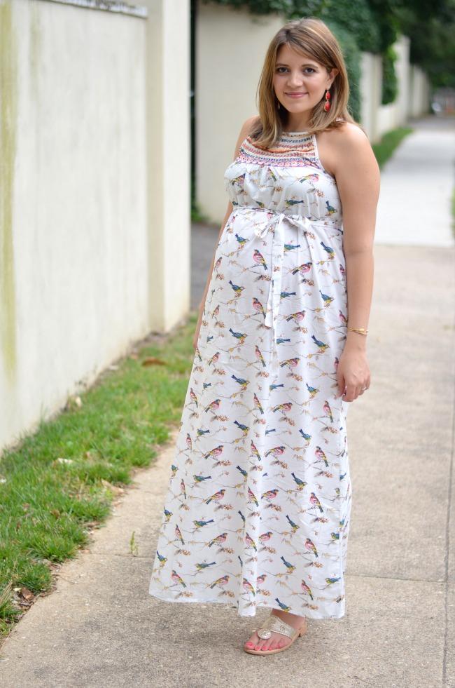 bird print maxi dress