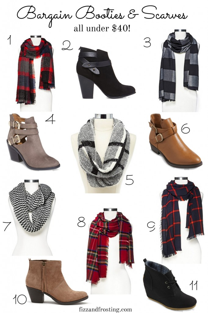 inexpensive booties and scarves for fall