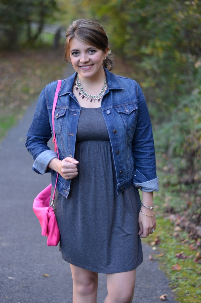 tshirt dress with denim jacket