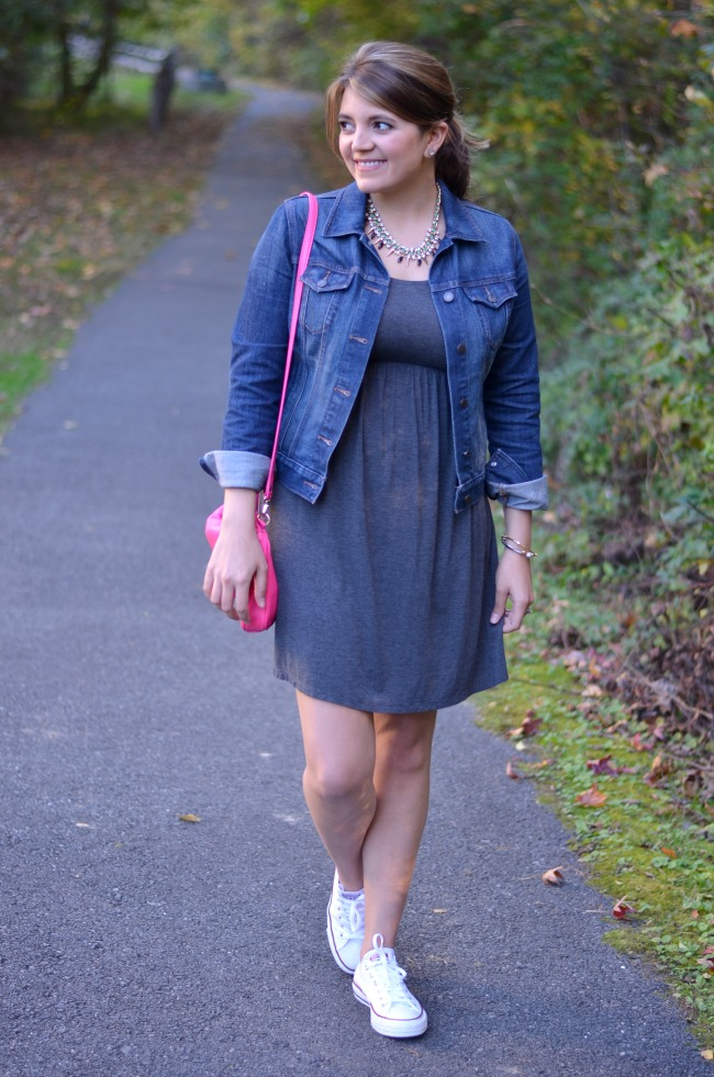 chucks with dress and denim jacket