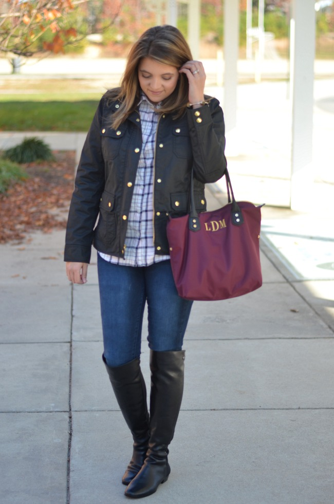 jcrew field jacket with plaid button up