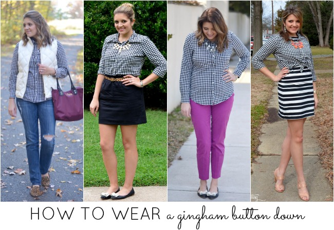 how to wear a gingham button down