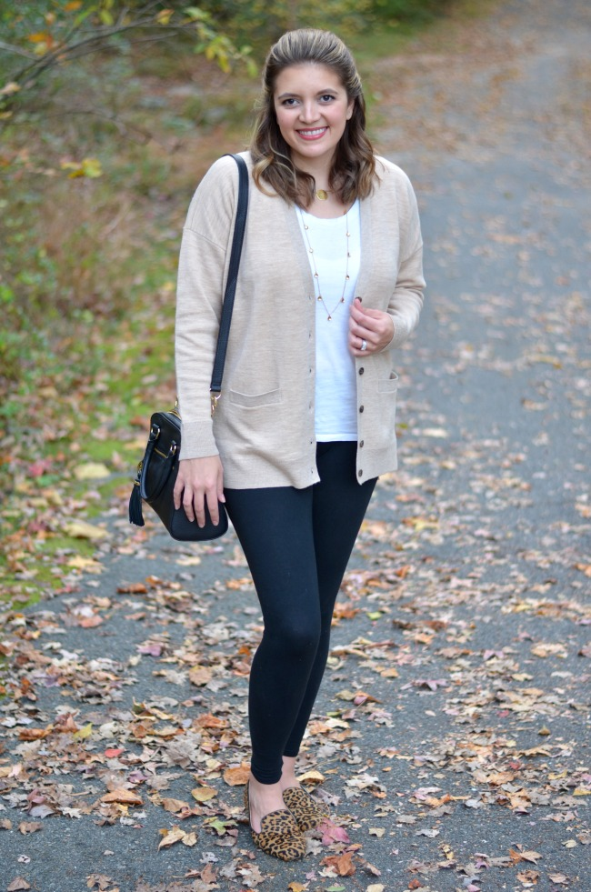 oversized cardigan with leggings
