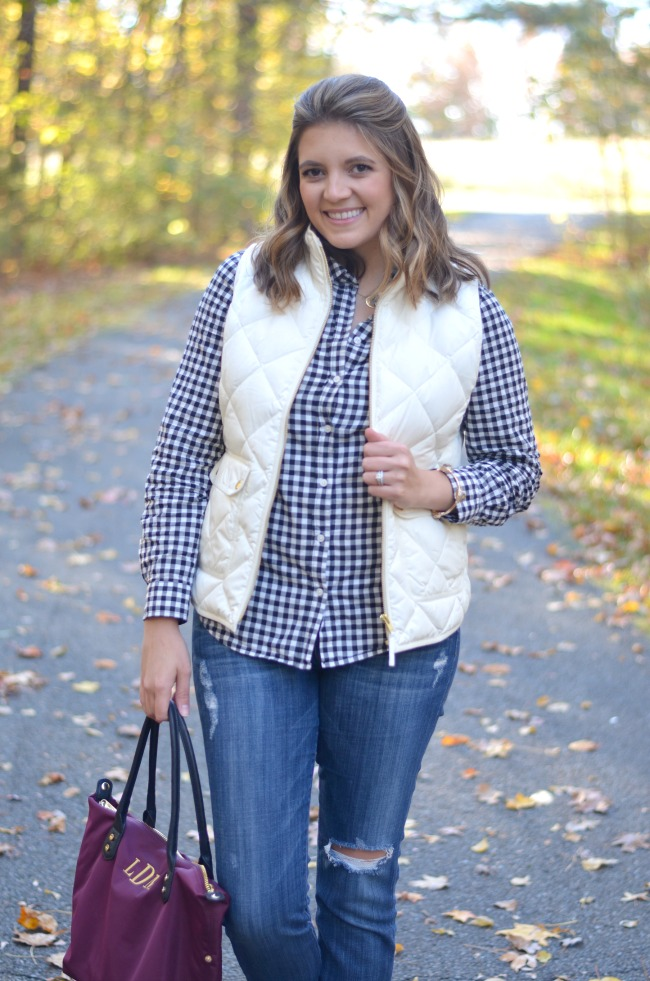 puffer vest with plaid