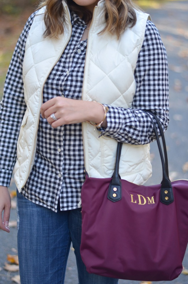 quilted vest with gingham