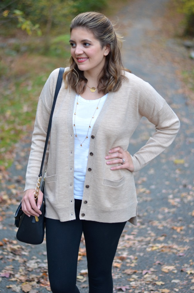 oversized cardigan with leggings for fall