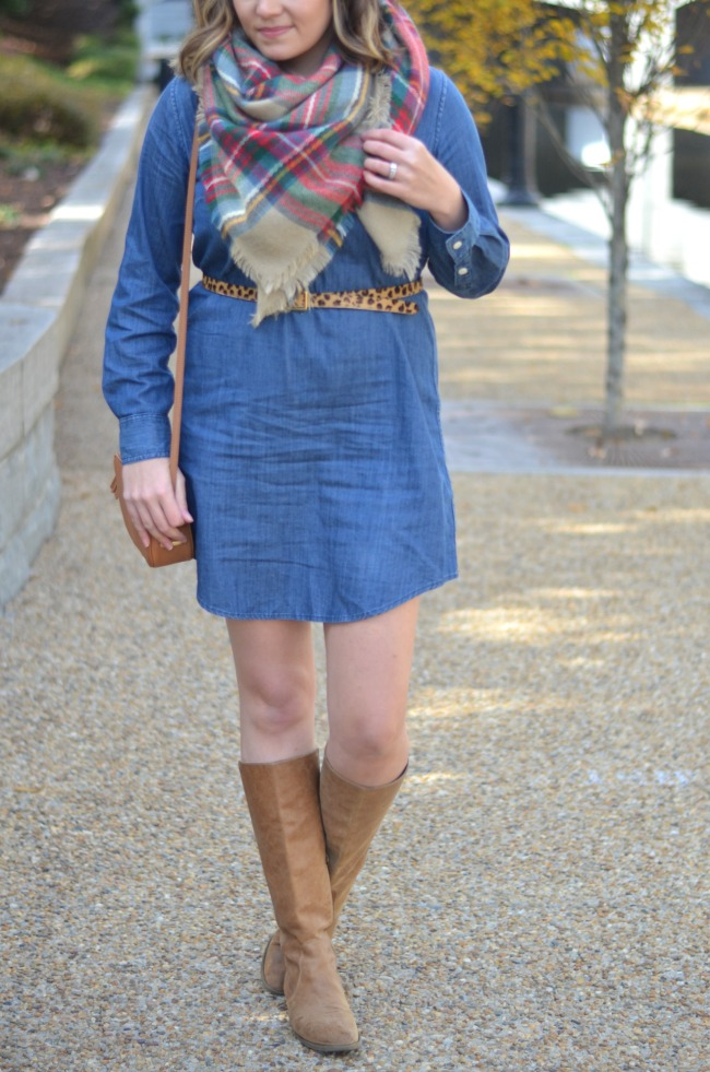 chambray dress with plaid scarf