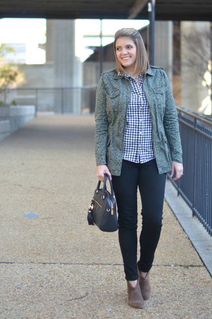 how to wear animal print with plaid