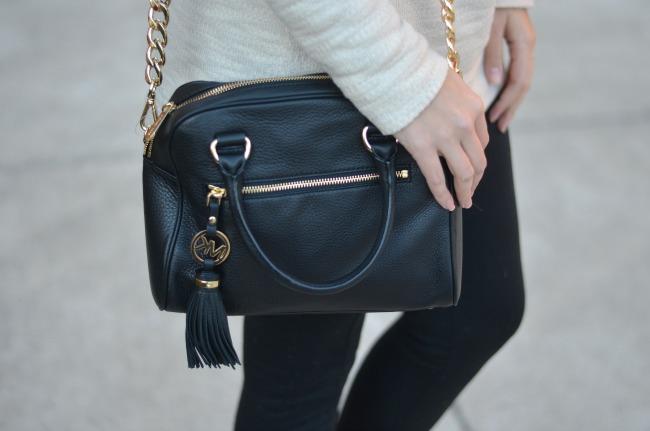 michael kors chain link leather purse