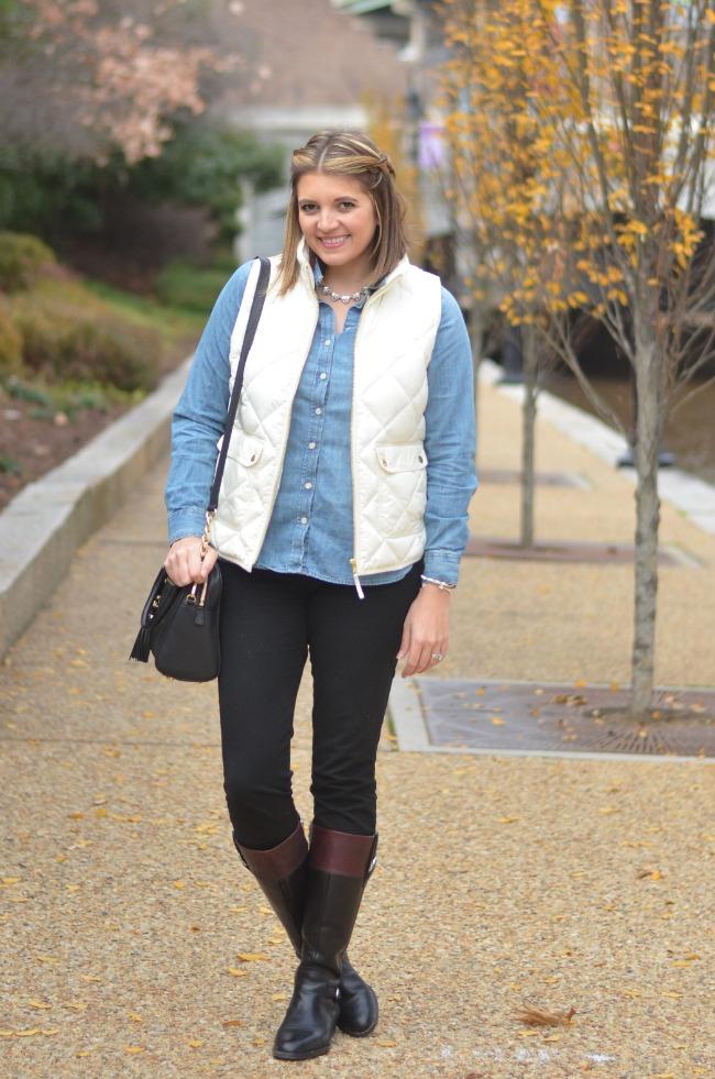 jcrew excursion vest, chambray, boots