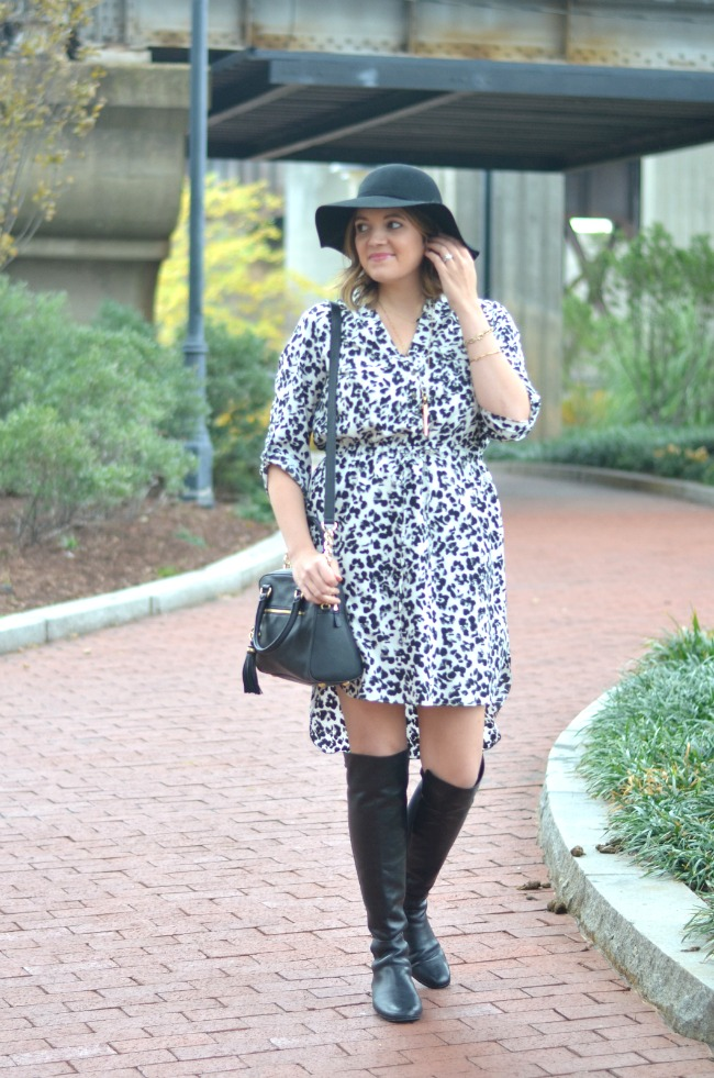 flat over the knee boots with a dress