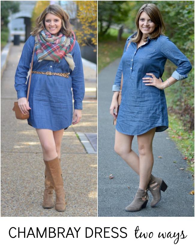 how wear chambray tunic dress