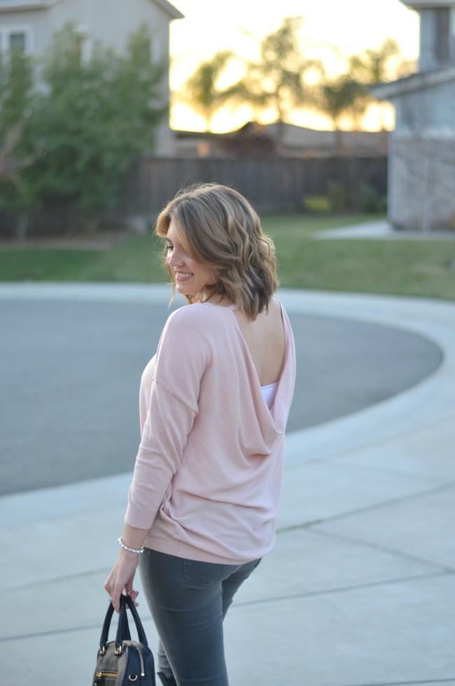 blush drapey sweater