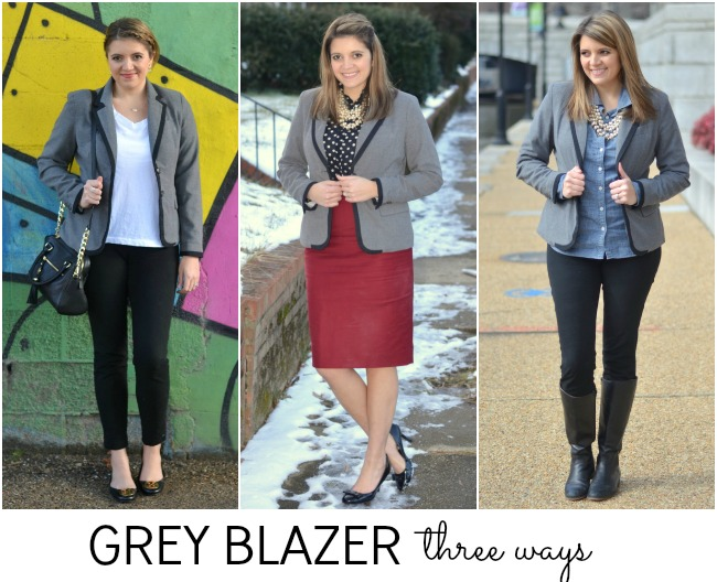 three ways to wear a gray blazer