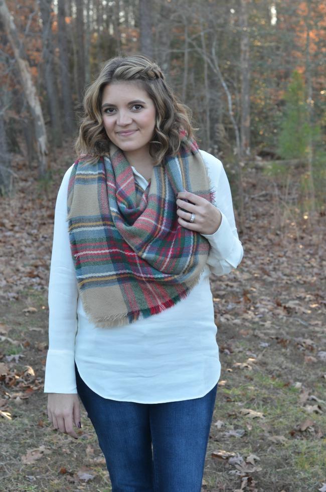 how wear big plaid scarf