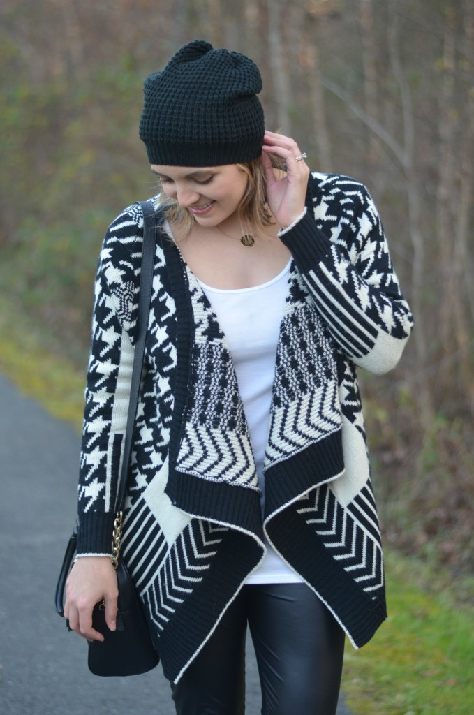 what wear with printed cardigan