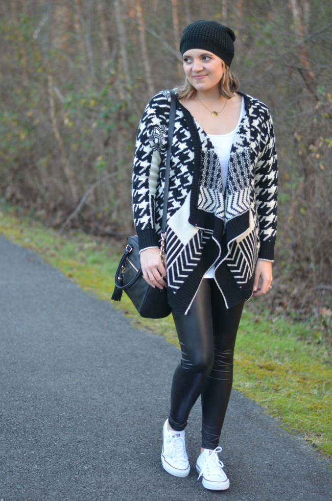 printed open cardigan