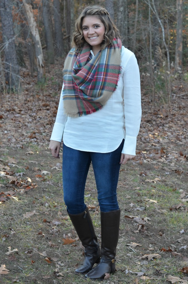 plaid scarf with white blouse and jeans