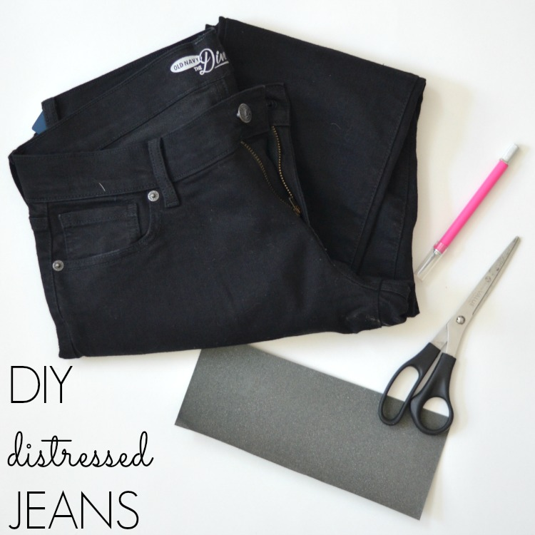 how to distress black jeans