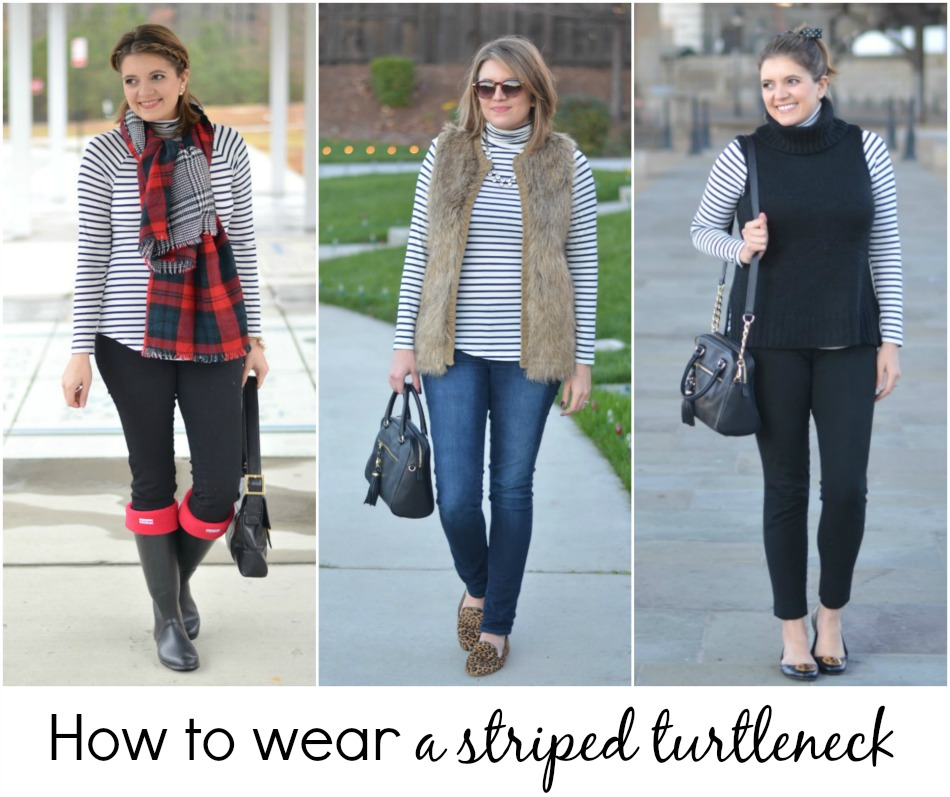 how wear striped turtleneck