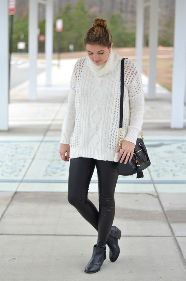 faux leather leggings with a sweater