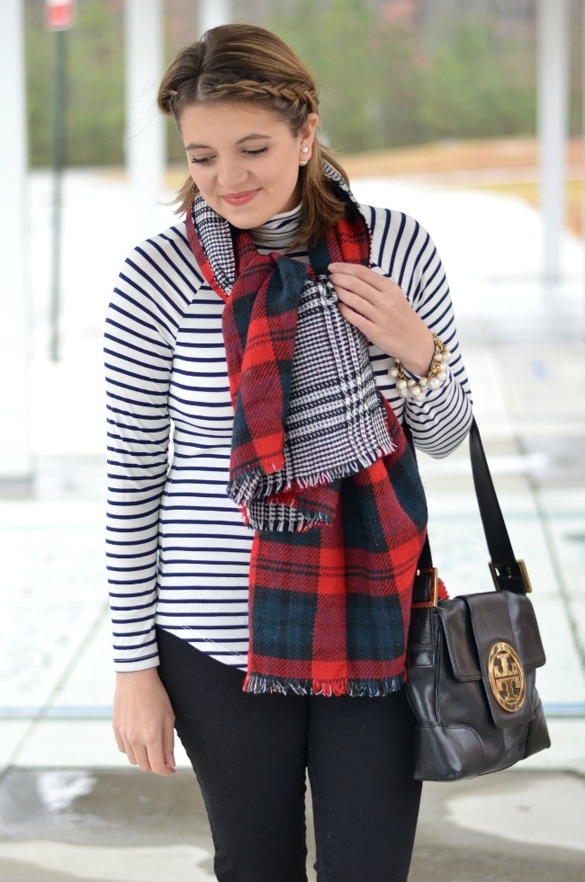 stripes with plaid scarf