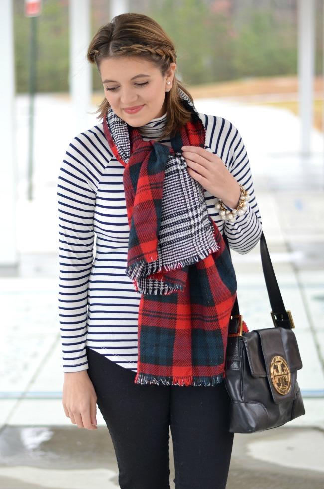 stripes with plaid scarf