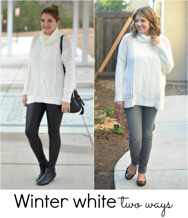 two ways to wear a white sweater