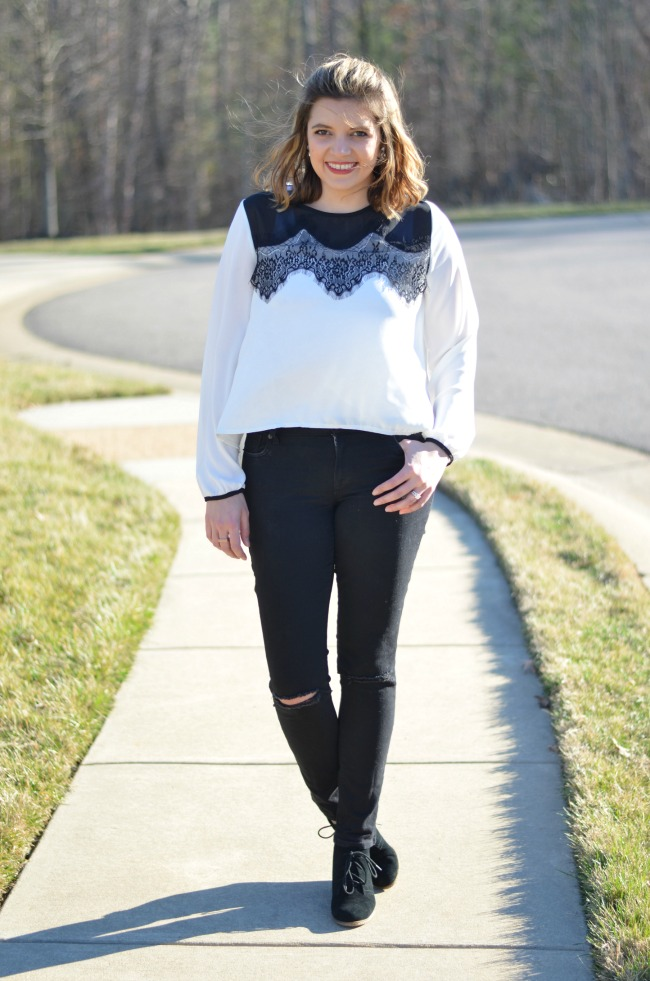 black distressed jeans with lace top