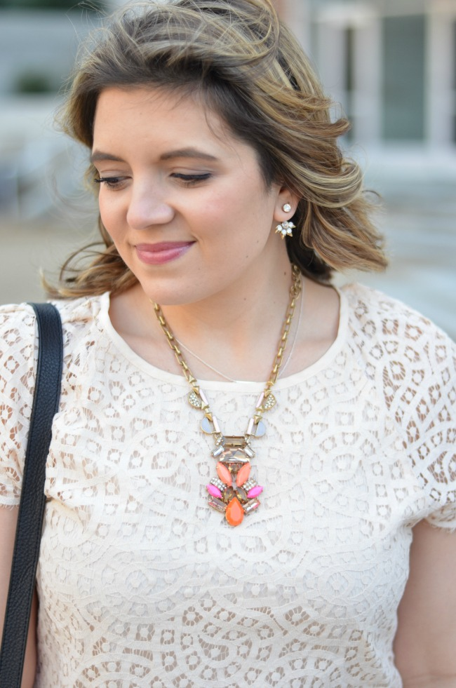 blush lace top with statement necklace