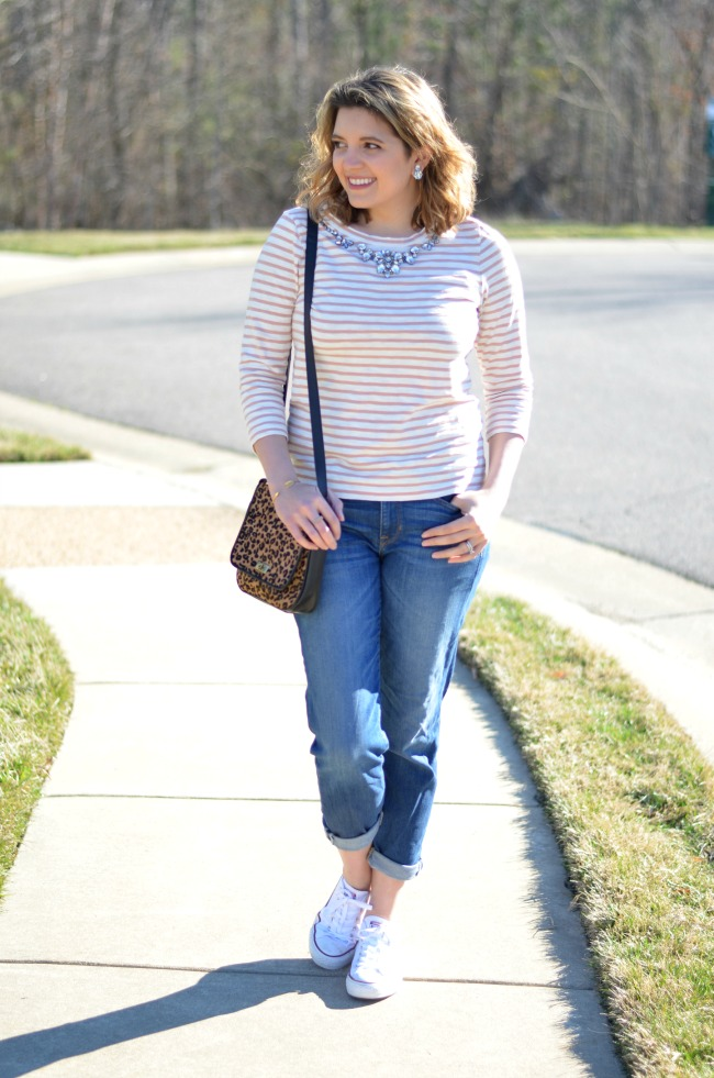 boyfriend jeans, striped tee, chucks