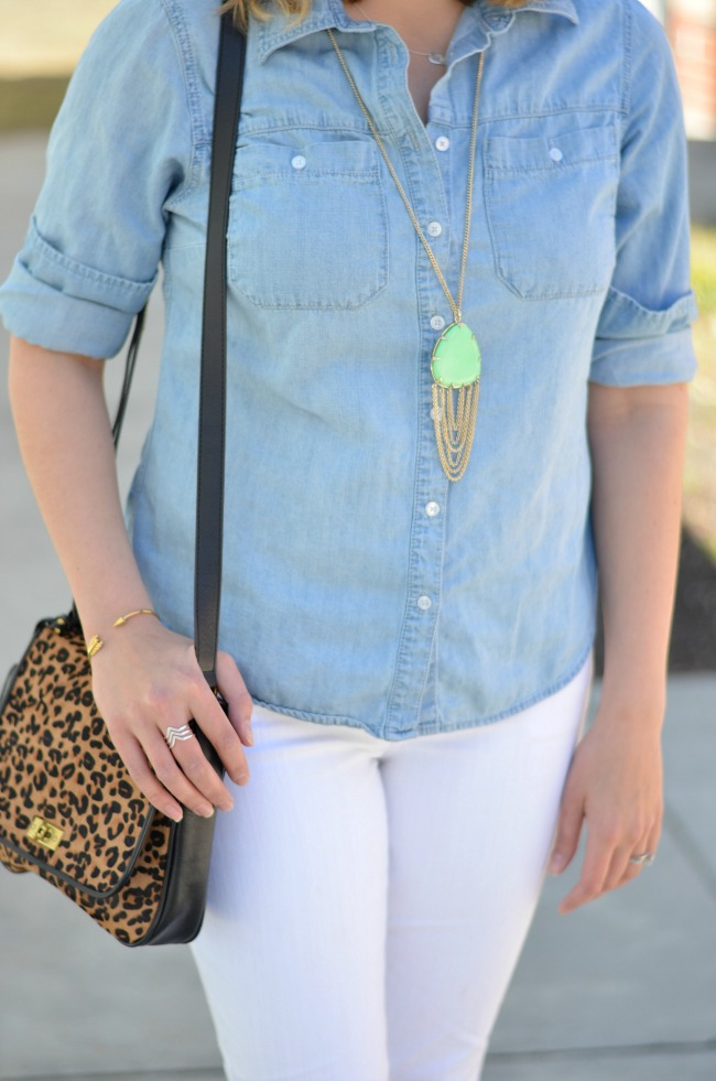 chambray top with white jeans