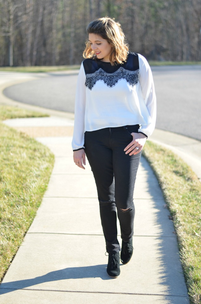 distressed jeans with lace top