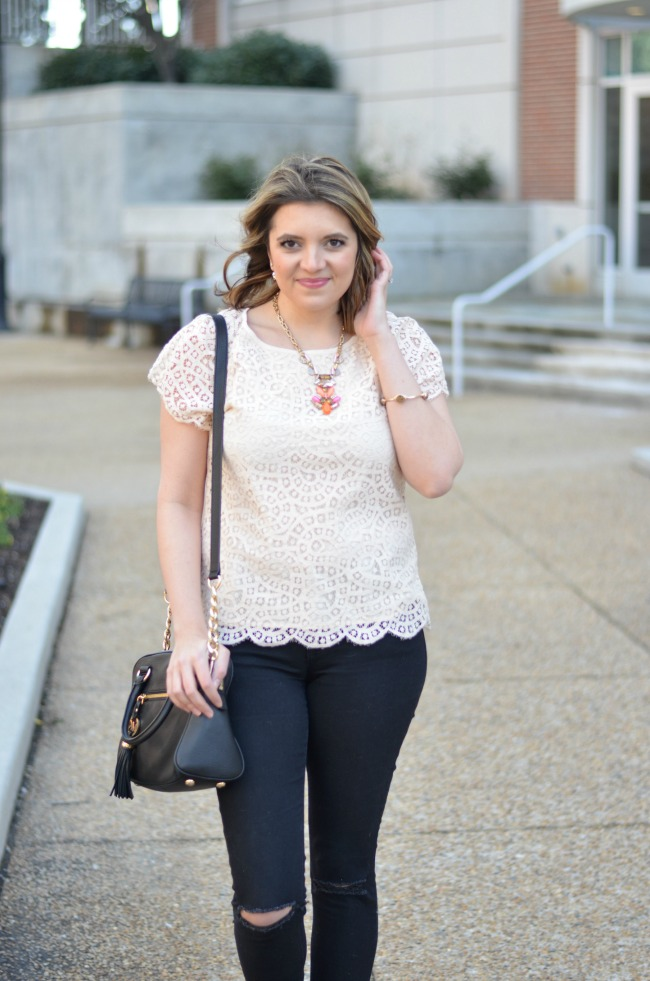 scallop lace top with black jeans