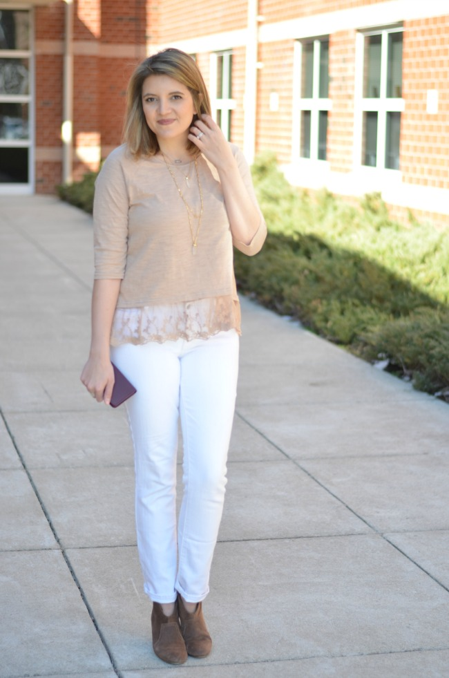 how to wear neutrals for spring: lace trim top and white denim