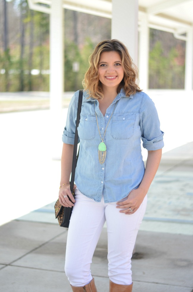 chambray with white jeans
